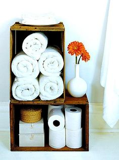 Wine Crate Storage- I like this idea for my bathroom. Now where to get wine crates. Linen Storage, Crate Storage, Storage Ideas, Towel Storage, Storage Solutions, Storage Boxes, Easy Storage, Paper Storage, Crate Shelves