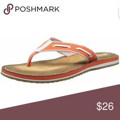 Clark's Flip Flop Sandals Clark's Flo Cherrymore Flip Flop Sandals  Very Comfortable padded footbed  Canvas with rubber sole CORAL AND WHITE Sz 6 NEW WITHOUT BOX Clarks Shoes Sandals