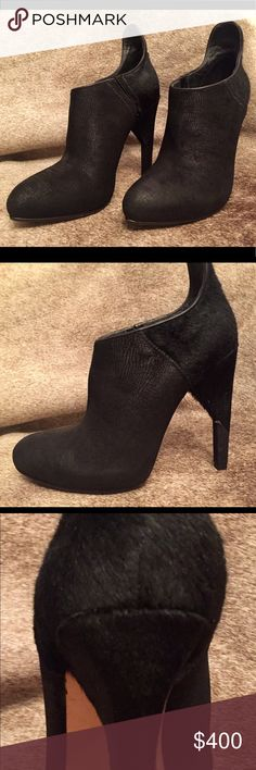 Alexander Wang Leather & Fur Slip On Bootie NEW, NEVER WORE!!!! These are GORGEOUS booties I had too search all over to find! I had hoped I could wear them, but after multiple knee surgeries, I've been ordered to not wear anything higher than a kitten heel. ; ( Please five these beauties a new and loving home!  I added anti-slip pads to soles. Alexander Wang Shoes Ankle Boots & Booties