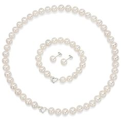 Freshwater pearls make a wonderful gift, and this complete jewelry set includes a leatherette box for presenting them. This stunning three-piece set includes a necklace, bracelet, and matching earrings that are elegant accessories for all occasions.