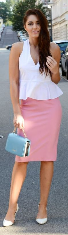 Zara Pink 9to5 Pencil Midi Skirt by Stylish !