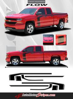 Vehicle Specific Style - Chevy Silverado Truck Special Edition Rally Style Hood Side Door Accent Striping Vinyl Graphic Stripe Decals Year Fitment - 2016 2017 Contents - Driver and Passenger Hood Sect