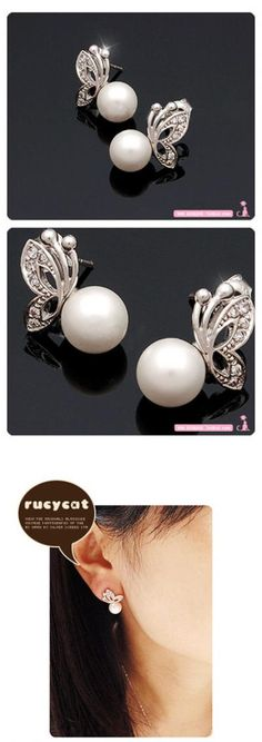 $0.99 Faux Pearl Earring Crystal Butterfly Alloy Wedding Bridal Stud Earrings - BornPrettyStore.com