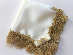 Wedding Hanky, Bride / Mother of Bride / Mother of Groom Satin Handkerchief with Golden Venice Lace and Flower Rhinestone - Queen of Ivory