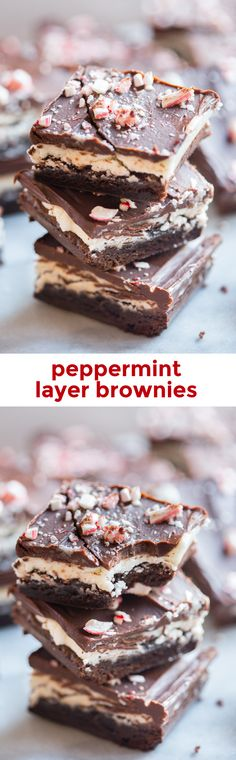 Peppermint layer brownies. Unbelievable peppermint chocolate layered brownies: tender brownie, creamy cool frosting, and rich pepperminty ganache. Oh. My. Heavens. // 40 Aprons