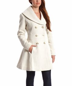 This Off-White Shawl Collar Wool-Blend Peacoat by Jessica Simpson Collection is perfect! #zulilyfinds