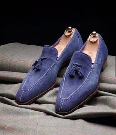 Dress shoes for mens, Men blue Suede Tassels shoes moccasins loafer slip ons sold by Rangoli Collection. Shop more products from Rangoli Collection on Storenvy, the home of independent small businesses all over the world. Mens Blue Suede Loafers, Mens Loafers Shoes, Suede Leather Shoes, Loafer Shoes, Soft Leather, Calf Leather, Men's Shoes, Shoes Men, High Ankle Boots