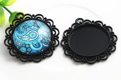 Cheap pendant blank, Buy Quality pendant amethyst directly from China pendant lights for high ceilings Suppliers: New Fashion 3pcs 25mm Inner Size Black plated  Flower Simple Style Cabochon Base Setting Charms Pendant (A4-57)