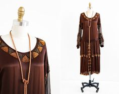 vintage 1920s dress / 20s flapper dress / Beaded Silk Dress with Original Lariat Necklace on Etsy, Sold