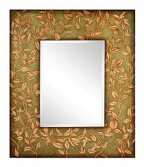 The Adair Mirror will add style to any décor.  This beautiful beveled wall mirror is finished in an aged moss with hand-painted cream detailing that will enhance any room's décor. http://modernroomswithstyle.com/item_832/Adair-Mirror.htm