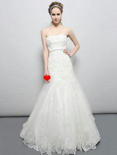Stunning-Floor-length-Strapless-Lace-Applique-Court-Train-A-line-Wedding-Dress-with-Rhinestones-Belt-AL0052.jpg (900×1200)