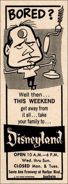 Party like someone has a drill to your head!-  Disneyland newspaper ad, 1960s miehana
