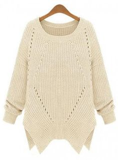 White Irregular Knit Sweater