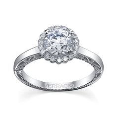 Verragio Ladies 18K White Gold Diamond Engagement Ring
