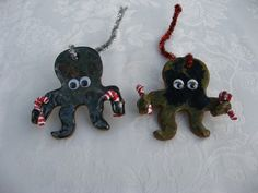 Thrown Pottery Christmas Ornaments | Octopus tree ornament