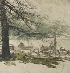 Luigi Kasimir(Austrian, 1881-1962)St. Moritz    Colour Etching with Remarque