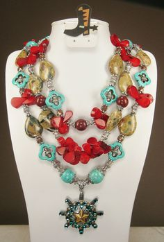 TRIPLE STRAND TURQUOISE and Coral / Jasper by CayaCowgirlCreations, $65.00