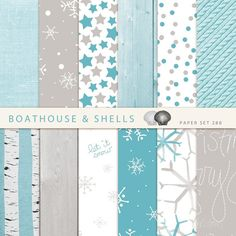 TURQUOIS MERRY CHRISTMAS 12 Digital Papers by BoathouseAndShells