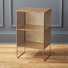 a fine mesh. Industrial mesh cubbies rise single file, two tiers tall, on handcrafted metallic iron frame with exposed brass welding. Shelves shoes, books and Wide Bookcase, Bookcase Wall, Modern Bookcase, Bookshelves, Narrow Bookshelf, Bedroom Shelves, Bedroom Storage, Modular Shelving, Storage Shelves