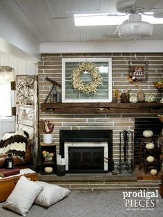 Farmhouse Style Fall Fireplace Mantel Decor by Prodigal Pieces…