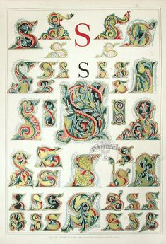 Owen Jones Illuminated Letters, gilt prints of the alphabet from 1864 Graffiti Lettering Fonts, Typography Art, Lettering Design, Hand Lettering, Alphabet A, Calligraphy Letters, Caligraphy, Illuminated Letters, Illuminated Manuscript
