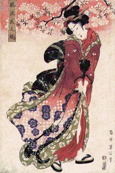 historic japanese painting of kimono - Bing Images Geisha, Era Edo, Edo Period Japan, Oriental, Japanese Painting, Japanese Artwork, Korean Art, Japanese Prints, Japan Art