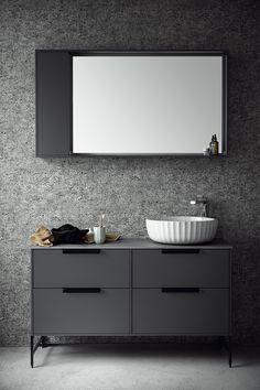 DK   Svedbergs Vanity Basin, Bath Cabinets, Smart Storage, Bathroom Inspo, Clean Design, Bathroom Storage, Scandinavian Design, Home Deco, Double Vanity