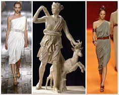 Designer:Lanvin Ancient Greece Ionic Chiton and Himation influences. Banded at waist line
