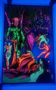 VINTAGE ORIGINAL1974 THE EXORCISTS  CASTLE black light Poster  ATLAS CHICAGO  #Vintage