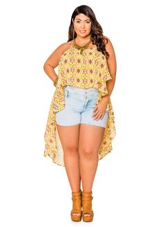 Sheer Ikat Print Hi-Lo Top - Ashley Stewart