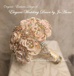 Gold Bouquet, Wedding Brooch Bouquets, Silk Flower Bouquets, Flower Bouquet Wedding, Silk Flowers, Flower Brooch, Blush Rose, Blush Pink, Rose Gold