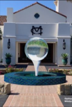 Montecito Country Club design - a unique twist to the sphere fountain 🔮 instead of a dish, the sphere is supported by a stainless steel golf tee 🏌️♂️⛳️ Garden Art, Garden Design, Club Design, Luxury Living, Water Features, Landscape Design, Fountain, Garden Sculpture, Around The Worlds
