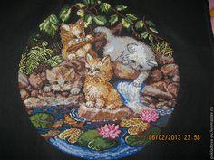 Купить Вышитая картина Котята - черный, котята, коты и кошки, коты, вышитая картина крестиком