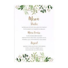 Forest Wreath Wedding Menu, Watercolour Foliage, Greenery, Eucalyptus Invites, Green Wreath, Botanical Wedding, 5 Pack