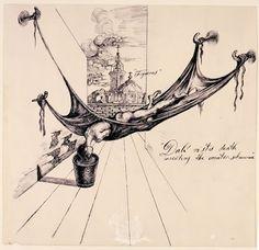 """Dalí riskes death inventing the counter-submarine"". Ilustración para la primera edición de ""The Secret Life of Salvador Dalí"" - 1939/41 - Tinta sobre papel"