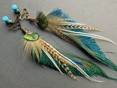 Feather Plugs - Dangle Plugs - Ear Gauges - Tribal Plugs and Tunnels - Ear Hangers - Ear Plugs - Plugs - Inch Plugs Feather Crafts, Feather Art, Feather Jewelry, Peacock Feathers, Feather Earrings, Custom Jewelry, Handmade Jewelry, Ear Gauges, Jewelry Crafts