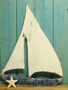 Sailboat Sail Boat Sign Weathered White Beach by CastawaysHall, $69.00