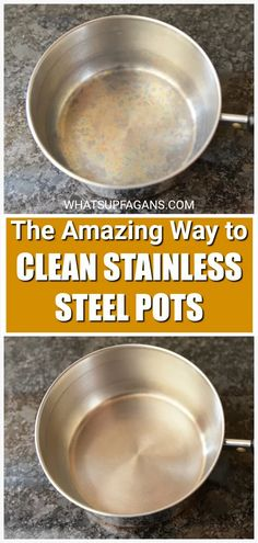 Best method for how to clean stainless steel pans and pots, even burtn stainless steel pans, and ones with discoloration. Can't wait to use this to clean all my stainless steel cookware!