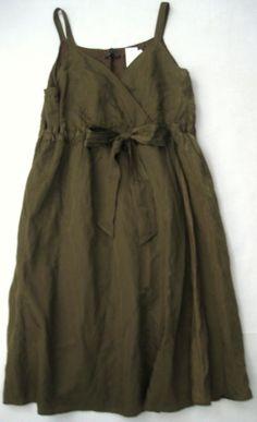 000691e5bb58d EILEEN FISHER 16 Olvne Olive Green Satin Faux WRAP Dress  318 NWT 16