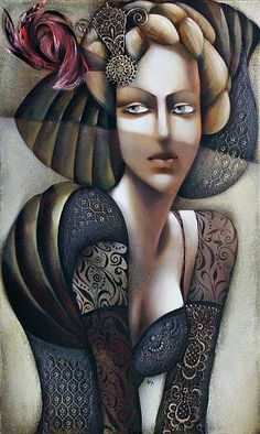"Ira Tsantekidou, ""Geheimnisvolle Unbekannte, 60x100"" / 2009  Oil Painting: IRA HAS BECOME VERY WELL KNOWN FOR HER BEAUTIFUL, SENSUAL AND TENDER PAINTINGS OF WOMEN. SHE HAS AN AMAZING TECHNIQUE OF BRINGING THE WOMEN TO LIFE ON CANVAS SHOWING THEIR EROTIC BUT SOPHISTICATED CHARACTERS AT THE SAME TIME...      SHE LIKES TO CALL HER PAINTINGS OF WOMEN ""IMAGES OF WOMAN – LA FEMME FATALE"" AS SHE FEELS THAT THEY SHOW WOMEN IN MANY OF THEIR DIFFERENT MOODS.."