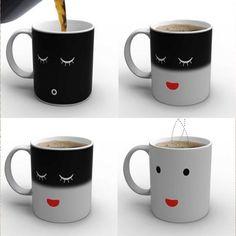 Wake Up Farbwechsel Magic Tasse Zaubertasse Teebecher Trinkbecher Kaffeebecher
