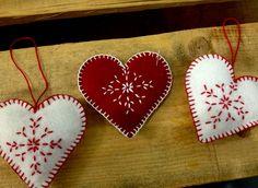 hand-made felt hearts for Christmas