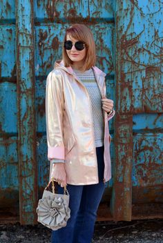 bc72257ca21 Rose gold metallic rain coat, flared jeans, Converse | Not Dressed As Lamb