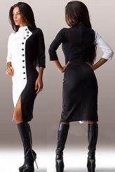 Black White Button Front Sleeved Midi Dress