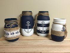 deko maritim diy Items similar to Anchor theme jars on Etsy Mason Jar Projects, Mason Jar Crafts, Burlap Mason Jars, Beach House Decor, Diy Home Decor, Pot Mason Diy, Deco Marine, Nautical Bathrooms, Anchor Bathroom
