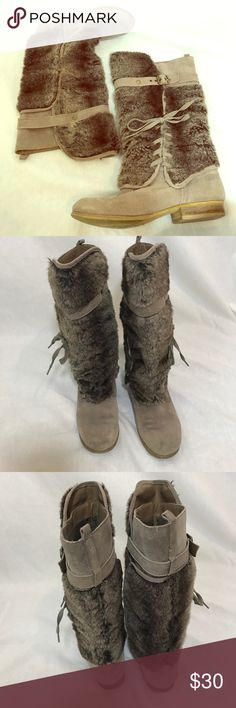 🐒 Naughty Monkey Faux Fur Boots 🐒 Used but in good condition. Gray faux fur boots with laces on side. Normal wear with a few blemishes shown in pictures. Normal wear on soles with sticker mark in center (this would probably come off with some goo gone!). Adorable boots for fall🍁 naughty monkey Shoes Winter & Rain Boots