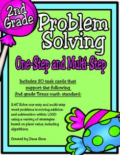 Includes 20 task cards, a gameboard, an answer key, an answer document, and station punchcards.Great to use for 2nd grade, or for 3rd grade tutorial groups.These task cards support the following 2nd grade Texas math standard:2.4C Solve one-step and multi-step word problems involving addition and subtraction within 1,000 using a variety of strategies based on place value, including algorithms.