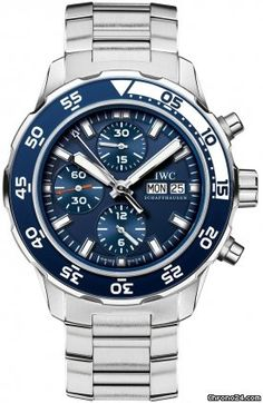 IWC Aquatimer Chronograph Automatic Blue Dial Mens Watch 3767-10 $5,399 Blue dial with luminous hands and stick hour markers. #blue #watches #watch #trend #men #jeans