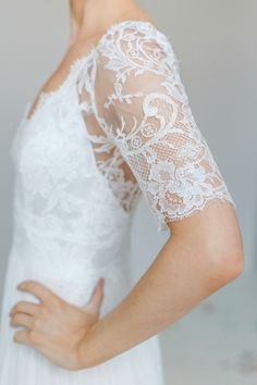 Marianne boho wedding dress with lace three quarter sleeves. French lace bodice with a floaty sleeve Bohemian Style Wedding Dresses, Designer Wedding Dresses, Lace Bodice, Lace Sleeves, Campground Wedding, London Wedding, Chiffon Skirt, French Lace, Gowns