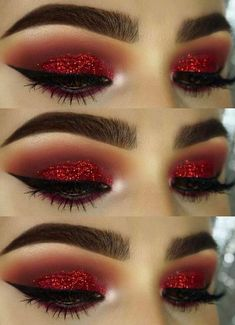 How To remove waterproof eyeliner? Make up eyes - If eyeliner and mascara are waterproof, this places special demands on your eye make-up remover. Eye Makeup Glitter, Red Eye Makeup, Beauty Makeup, Hair Makeup, Red Makeup Looks, Matte Makeup, Red And Black Eye Makeup, Makeup For Red Dress, Glitter Gel